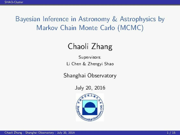 Bayesian Inference in Astronomy & Astrophysics by Markov Chain Monte